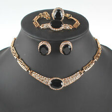 Fashion Gold/Plated Gem Crystal Necklace Earring Party Gift Jewelry Sets