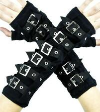 Black Buckle Gloves Deathrock Gothic Arm Warmers Cosplay Steampunk Cyber Vampire