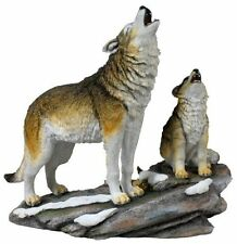 "10.5"" Howling Wolf & Cubs Nature Wildlife Animal Statue Collectible Wild Figure"