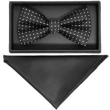 TiesRus Hand Made Black And White Polka Dot Mens Bow Tie and Handkerchief Set