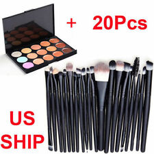20Pcs Powder Foundation Eyeshadow Makeup Brushes + 15 Colors Concealer Palette