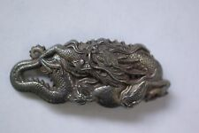 Antique Japaneese Period Sterling Silver Dragon Belt Buckle with Turtle Hallmark