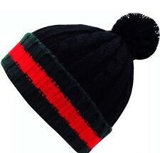 New Men's Women's Bobble Hat Woolly Designer Winter Beanie Stripped Thick Knit