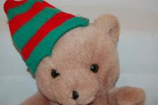 "Christmas Holiday Brown Teddy Bear Green Red Santa Hat 12"" Plush Stuffed Toy"