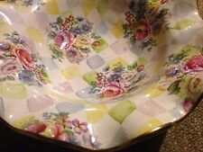 HUGE Mackenzie Childs HONEYMOON Multicolor SERVING BOWL Floral transfers RARE