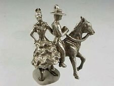 Vintage Sterling Silver Couple SPANISH FLAMENCO DANCERS On HORSE Charm