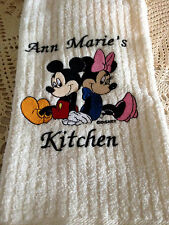 Embroidered Hand/Kitchen Towel Personalizied with Mickey and Minnie Mouse Design