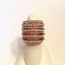 JOAN BOYCE White Pave Crystal Ring Size 8