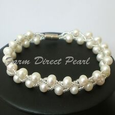 "Genuine White Pearl Bracelet 7"" 7.5"" Magnetic Multi 2 Strand Cultured Freshwater"
