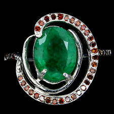 NATURAL EMERALD & GENUINE ORANGE DIAMOND RING SZ. 7~ WHITE GOLD over 925 SS