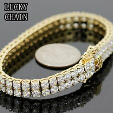 """STAINLESS STEEL ICED OUT 2 ROWS TENNIS LINK GOLD BRACELET/8.3""""/36g/C151"""