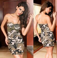 FAVOLOSO STRETCH CAMOUFLAGE VERDE CAMO PRINT SHORT MINI DRESS PARTY CLUB UK 8-10