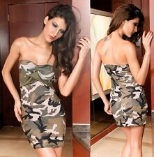 Fabulous Stretch Camouflage Green Camo Print Short Mini Dress Party Club UK 8-10