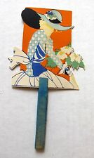 Beautiful Vintage 1920s Bridge Card Game Tally Hand Fan w Woman Holding Flowers