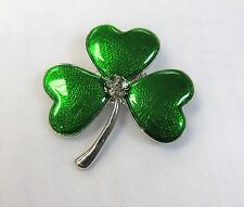 Silver Plated Green Irish Shamrock Clover Pin Brooch # 0545 St. Patrick's Day