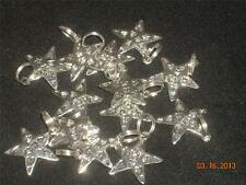 Wholesale Lot # 418 Pewter Stars on Heart Charm Pendant Earring Key Chain Crafts