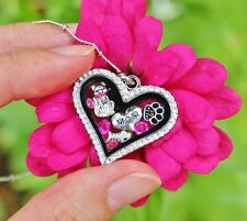 Cat Mom Living Locket Necklace Floating Charms Kitty Paw Print Fuchsia Hot Pink