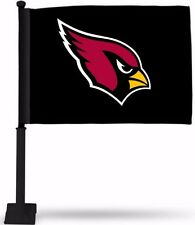 ARIZONA CARDINALS BLACK CAR FLAG BLACK POLE DOUBLE SIDED