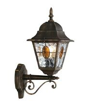Traditional Black Gold Stained Glass IP44 Outdoor Porch Wall Light Lantern