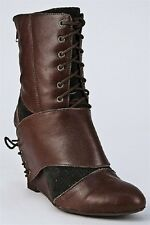 JEFFREY CAMPBELL SHOES WARNER LACE UP BOOTIES ANKLE WEDGE BOOTS 7.5 $180