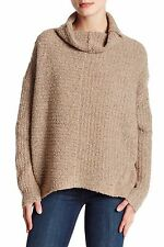 NWT EILEEN FISHER WHEAT WOOL BLEND FUNNEL NECK WEDGE SWEATER LARGE L RT258