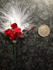 Small Red and White marabou feather button holes corsage. wedding. £2.50 Each