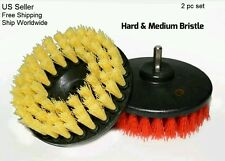 "2 New Scrub Brush Upholstery Car Carpet Mat 5"" Round with Power Drill Attachment"
