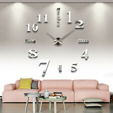 DIY Large Wall Clock 3D Mirror Sticker Big Watch Home Decor Unique Gift