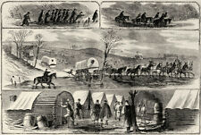 Army of Potomac Stuck in Mud - Wagon Train - Horses - 1862 Antique Print