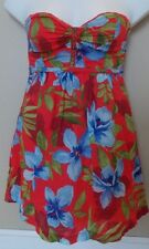 NWT HOLLISTER Strapless Sun Dress Women's/Junior's Sz S Red Floral Lined L@@K