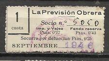 1791-SELLO ESPAÑA CUOTA LA PREVISION OBRERA EN CATALAN Y CASTELLANO,1946