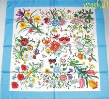 GUCCI blue Border FLORA Flower & Butterflies Large SIGNED silk scarf NWT Authent