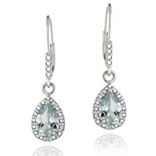 925 Silver 3ct Blue Topaz & Diamond Accent Teardrop Leverback Earrings