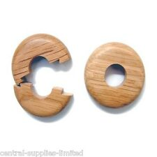 2 X 15mm SOLID OAK COLOUR WOODEN WOOD RADIATOR PIPE COLLARS COVER FLOOR