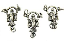 MRT 3 Miraculous Mary Our Lady Grace Rosary Centerpiece Part Silver Plate 7/8""