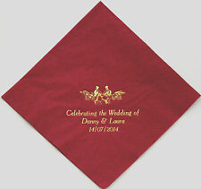 50 Napkins Choice of 10 colours 3 lines + Motif Personalised for your Wedding