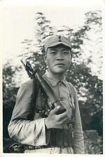 WWII Chinese Soldier w/ Mauser C96 Semi-Automatic Pistol with Rifle Stock Photo