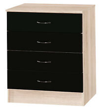 Alpha Black Gloss & Sanremo | 4 Chest Of Drawers | Modern Furniture Unit