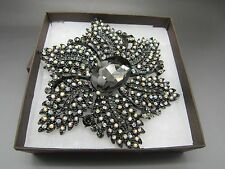 JOAN RIVERS FLOWER BROOCH PIN AURORA BOREALIS PINKS BLACK NEW IN BOX SIGNED