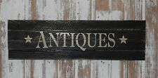 "Primitive Vintage Look Repro Shabby Wood ANTIQUES Sign Country BLACK 20"" x 6"""