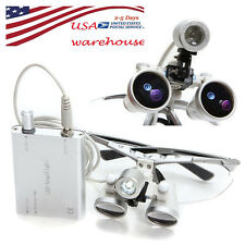 USA Seller Dental Surgical Binocular Loupes Loupe 3.5X 420mm+ LED Headlight Lamp