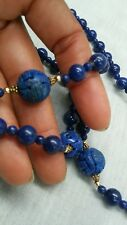 Stunning vtg. Chinese carved lapis lazuli beads necklace