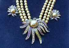 NEW HEIDI DAUS 3 ROW SIMULATED PEARL & CRYSTAL NECKLACE & CLIP ON EARRING SET