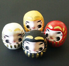 "4 PCS. Japanese 2""H Wish-Making Daruma Dolls for Rich Health Love, Made in Japan"