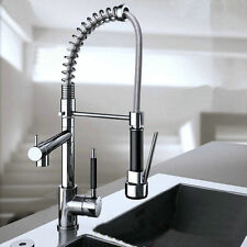 Chrome Brass DecK Mounted Kitchen Sink Faucet One Handle Mixer Tap Spring