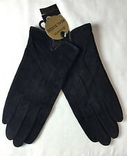 Monsoon Accessorize Black Real Suede Gloves S/M (a579)
