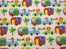 ~ FLANNEL~Zoo Animals~Cars~Bright ~Caravan~Fabric~Flannelette~Blue~Red~Boys~FQ ~