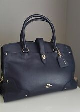 NWT Coach 37167 Mercer Large Satchel NAVY Pebbled Leather Handbag