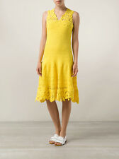 New $2,990 OSCAR DE LA RENTA Yellow Canary Cotton Crochet Knit Lace Dress S