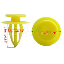 100Pcs 10mm Hole Plastic Rivets Car Auto Bumper Fender Trim Panel Clip Yellow
